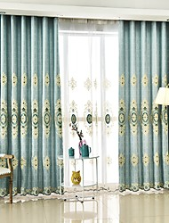cheap -Rod Pocket Grommet Top Tab Top Double Pleat Pencil Pleat Two Panels Curtain European, Embroidery Flower Bedroom Polyester Material
