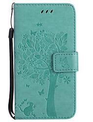 cheap -For Samsung Galaxy A5(2017) A3(2017) PU Leather Cat and Tree Pattern Phone Case A710 A510 A310 A5 A3