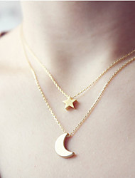 cheap -Women's Moon Star Basic Pendant Necklace Jewelry Alloy Pendant Necklace , Christmas Gifts Wedding Party Special Occasion Birthday
