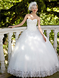 cheap -Ball Gown Sweetheart Floor Length Lace Tulle Custom Wedding Dresses with Sequin Appliques by LAN TING BRIDE®