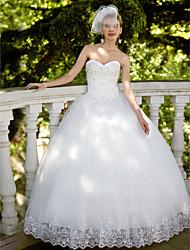 De Baile Decote Princesa Longo Renda Tule Vestido de casamento com Lantejoulas Apliques de Embroidered Bridal
