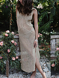 Women's Beach Swimwear Long Cover up Dress Solid Sleeveless Round Neck Hollow Polyester Beige