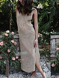 cheap -Women's Beach Swimwear Long Cover up Dress Solid Sleeveless Round Neck Hollow Polyester Beige