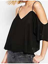 cheap -Women's Going out Sexy Blouse,Solid Boat Neck Sleeveless Others