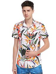 Pánské Tisk Běžné/Denní Jednoduché Košile Bavlna Košilový límec Krátký rukáv
