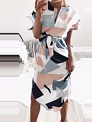 cheap -Women's Daily Going out Holiday Casual Street chic Sheath Dress,Geometric Color Block Round Neck Knee-length Short Sleeves Polyester