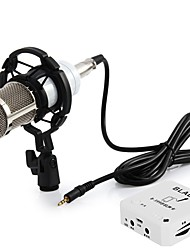 cheap -BM-800 Professional Studio Sound Condenser Microphone with Shock Mount Sound Card for Radio Broadcasting Recording