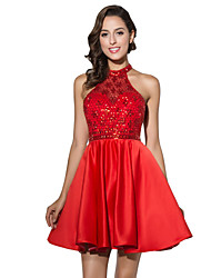 cheap -Ball Gown Fit & Flare Halter Short / Mini Satin Cocktail Party Dress with Beading by Sarahbridal