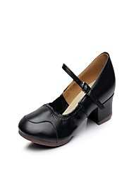 """Women's Latin Leather Split Sole Indoor Buckle Stitching Lace Low Heel Black 1"""" - 1 3/4"""""""