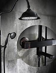 cheap -Antique Centerset Rain Shower Ceramic Valve Three Holes Single Handle Two Holes Oil-rubbed Bronze , Shower Faucet