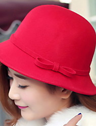 Women Bowknot Basin Cap Dome Pure Color Autumn Winter Wool Fisherman Hat