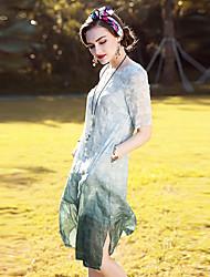 Linea A Vestito Da donna-Per uscire Casual Vacanze Vintage Sofisticato Tinta unita Jacquard Rotonda Al ginocchio Manica corta Seta Lino
