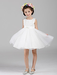 cheap -Ball Gown Short / Mini Flower Girl Dress - Organza Sleeveless Jewel Neck with Sequin by YDN