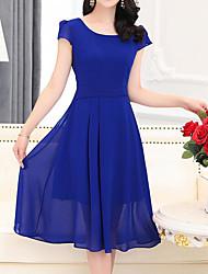billige -Dame Plusstørrelser I-byen-tøj A-linje / Skede Kjole - Ensfarvet Knælang