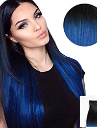 cheap -20pcs tape in hair extensions black to blue ombre 40g 16inch 20inch 100 human hair for women