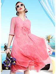 Linea A Vestito Da donna-Per uscire Casual Vacanze Vintage Sofisticato Ricamato A V Al ginocchio Manica corta Seta Lino Primavera EstateA