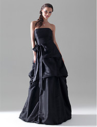A-Line Princess Strapless Floor Length Taffeta Bridesmaid Dress with Bow(s) Pick Up Skirt Sash / Ribbon by LAN TING BRIDE®