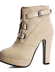 Women's Boots Winter Formal Shoes Leatherette Dress Casual Chunky Heel Buckle