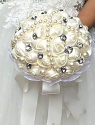 abordables -Fleurs de mariage Rond Roses Bouquets La Fête / soirée Satin Perle Strass