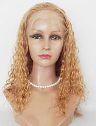Donna Parrucche sintetiche Lace frontale Lungo Kinky Curly Biondo ramato Media Auburn Per donne di colore Parrucca riccia stile afro