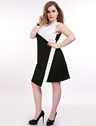 cheap -Really Love Women's Plus Size Vintage Street chic Shift Sheath Black and White Dress - Color Block Patchwork
