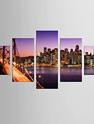 cheap -Photographic Print Landscape Style Modern,Five Panels Canvas Any Shape Print Wall Decor For Home Decoration