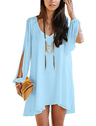 cheap -Women's Off The Shoulder Waboats Summer V Neck Sexy Strapless Chiffon Dress