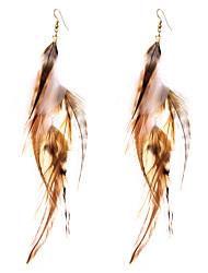 Недорогие -Серьги-слезки Бижутерия Геометрический вбок Не настоящие Pоскошные ювелирные изделия Простой стиль Английский Перья СплавГеометрической