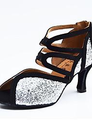 Dámské Latina Kůže Koženka Sandály Uvnitř Stříbrná Obyčejné