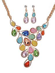 abordables -Mujer Juego de Joyas Collar / pendientes Los sistemas nupciales de la joyería Cristal Lujo Colgante Bohemio Moda Nupcial Elegant Boda
