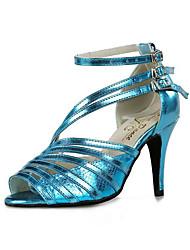 Dámské Latina Koženka Sandály Tenisky Venku Nízký podpatek Modrá 6cm Obyčejné