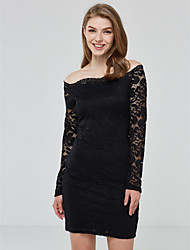 Women's Lace Fall  Dresses Solid Color Boat Neck Long Sleeve Sexy  Clothing Lace Dresses Ladies Party Club Dress