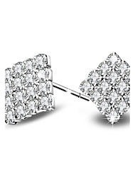 cheap -Silver Plated Earring Stud Rectangle Earrings Wedding / Party / Daily / Casual 2pcs