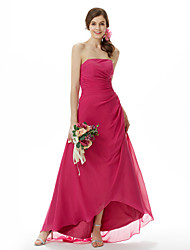 cheap -A-Line Princess Strapless Asymmetrical Sweep / Brush Train Chiffon Bridesmaid Dress with Side Draping by LAN TING BRIDE®