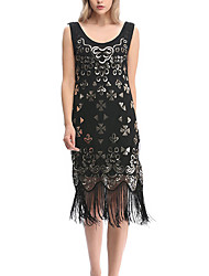 Sheath / Column V-neck Asymmetrical Polyester Cocktail Party Dress with Sequins