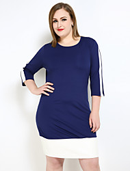 cheap -Really Love Women's Plus Size Casual Sexy Street chic Shift T Shirt Tunic Dress,Color Block Round Neck Knee-length PU Polyester Spring Fall Mid Rise