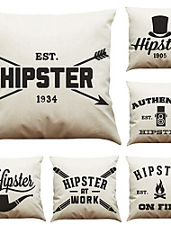 Set of 6 Creative Letter  Pattern Linen Pillowcase Sofa Home Decor Cushion Cover  Throw Pillow Case (18*18inch)