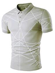 cheap -Men's Daily Beach Casual Active Summer Polo,Striped Shirt Collar Short Sleeves Cotton Medium