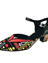 """abordables -Femme Modernes Similicuir Sandale Talon Utilisation Boucle Fantaisie Talon Personnalisé Noir/Rouge 1 """"- 1 3/4"""" 2 """"- 2 3/4"""" 3 """"- 3 3/4"""" 10"""