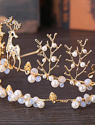 preiswerte -Kristall Imitation Perle Legierung Tiaras Kopfstück klassischen weiblichen Stil