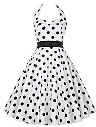 Women's Casual/Daily Beach Holiday Vintage Cute A Line Dress,Polka Dot Halter Knee-length Sleeveless Cotton Polyester Summer High Rise