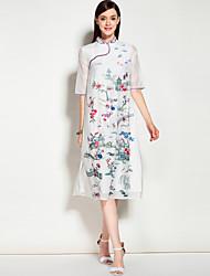 baratos -Mulheres Evasê Vestido Sólido Floral Bordado Colarinho Chinês