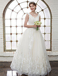 cheap -A-Line V-neck Floor Length Tulle Wedding Dress with Crystal Beading Appliques by LAN TING BRIDE®