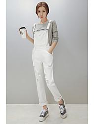 economico -Da donna A vita medio-alta Romantico Casual Anelastico Largo Tuta da lavoro Pantaloni,Tinta unita Autunno