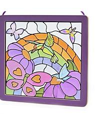 economico -Adesivi Puzzle Modellini di legno Giocattoli Quadrato Uccello Cristallo Legno Vetro Per bambini 100 Pezzi