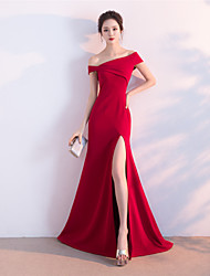 cheap -Mermaid / Trumpet One Shoulder Floor Length Satin Formal Evening Dress with Pleats Split Front Side Draping by Embroidered Bridal