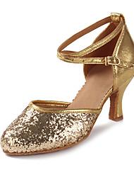 baratos -Mulheres Latina Glitter Paetês Couro Envernizado Sandália Salto Espetáculo Lantejoulas Gliter com Brilho Presilha Salto Cubano Dourado