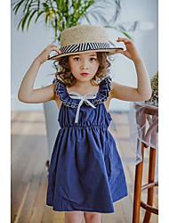 cheap -Girl's Solid Colored Lattice Dress