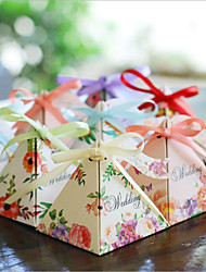 cheap -Round Square Pyramid Card Paper Favor Holder with Printing Favor Boxes Gift Boxes - 12