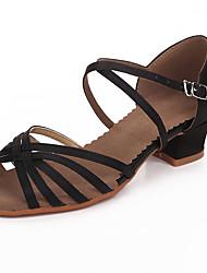 abordables -Chaussures Latines Satin Sandale Professionnel Boucle Talon Bottier Non Personnalisables Chaussures de danse Noir / Brun Foncé